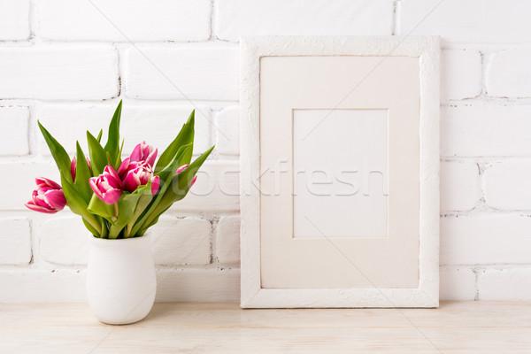Fehér keret vázlat magenta rózsaszín tulipán Stock fotó © TasiPas