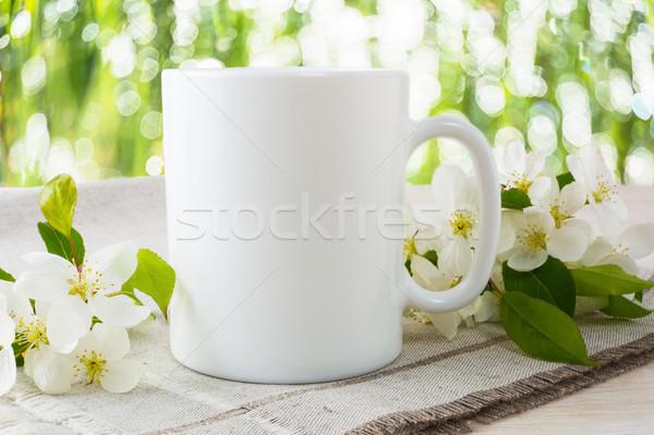 Bögre vázlat alma virág kávéscsésze sablon Stock fotó © TasiPas