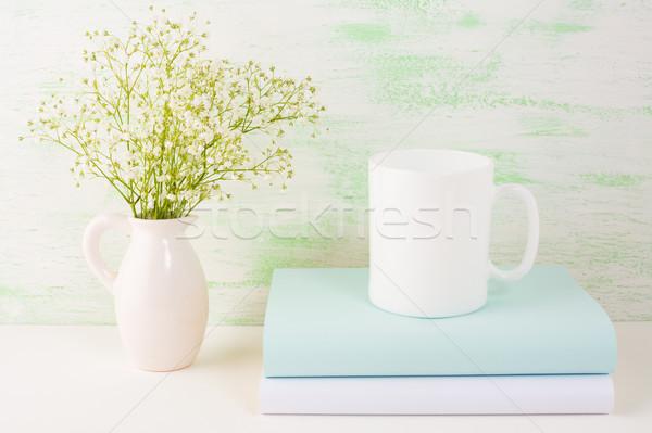 Coffee mug mockup light green Stock photo © TasiPas