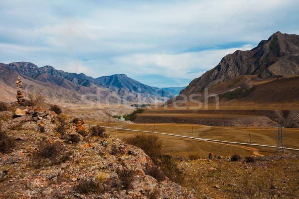 美しい 川 谷 風景 表示 山 ストックフォト © TasiPas