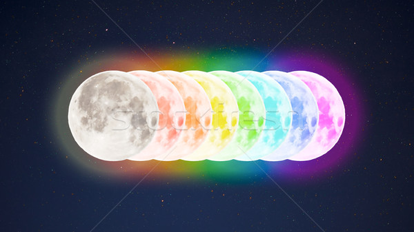 Rainbow colored full moons on starry sky background Stock photo © TasiPas