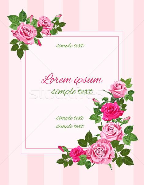 Vetor retro saudação rosa rosas vintage Foto stock © TasiPas