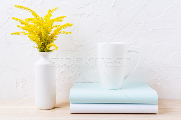 White coffee cappuccino mug mockup with ornamental golden grass  Stock photo © TasiPas