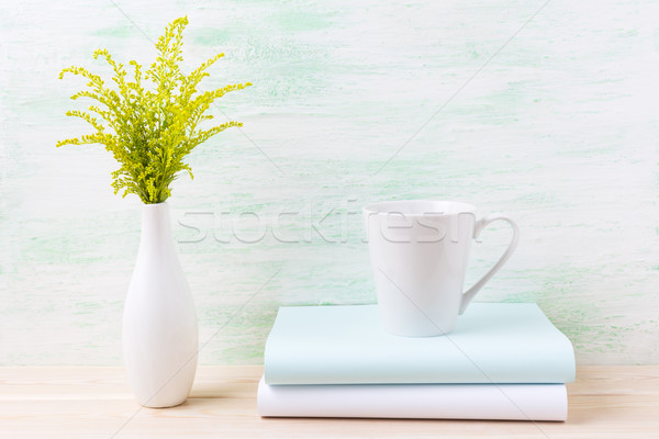 White coffee latte mug mockup with ornamental green grass  Stock photo © TasiPas