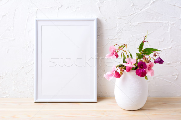 Branco quadro rosa casa plantas Foto stock © TasiPas