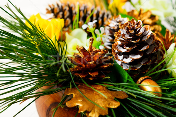 Stock photo: Christmas dinner table decoration with pine branches and golden