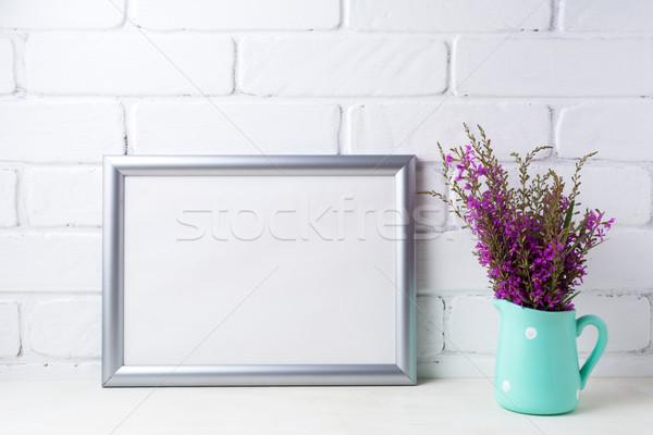 серебро пейзаж кадр темно-бордовый Purple Сток-фото © TasiPas
