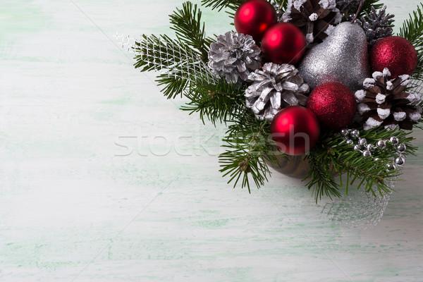 Сток-фото: Рождества · красный · украшения · серебро · соснового · таблице