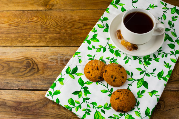 Teáscsésze kekszek felső kilátás reggeli sütik Stock fotó © TasiPas