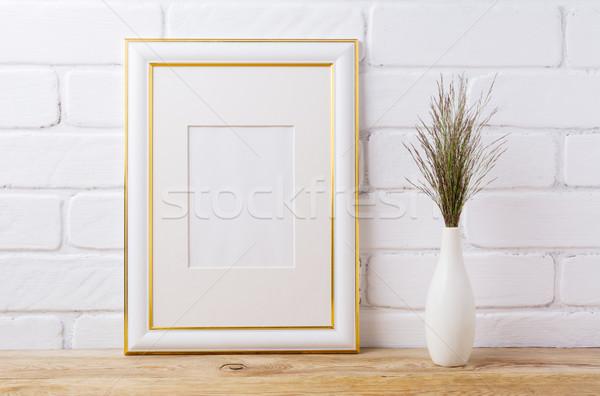 Arany díszített keret vázlat sötét fű Stock fotó © TasiPas