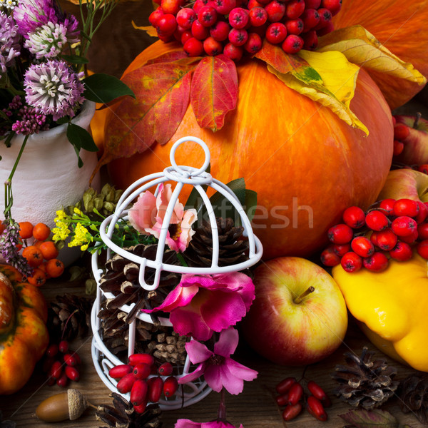 Dankzegging tabel ingericht pompoenen groenten Stockfoto © TasiPas