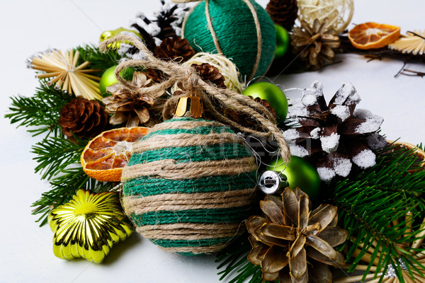 Christmas wreath with homemade jute twine ornaments  Stock photo © TasiPas