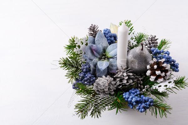 Navidad vela azul seda artificial flor Foto stock © TasiPas