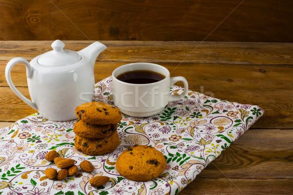 Bule copo chá doce sobremesa caseiro Foto stock © TasiPas