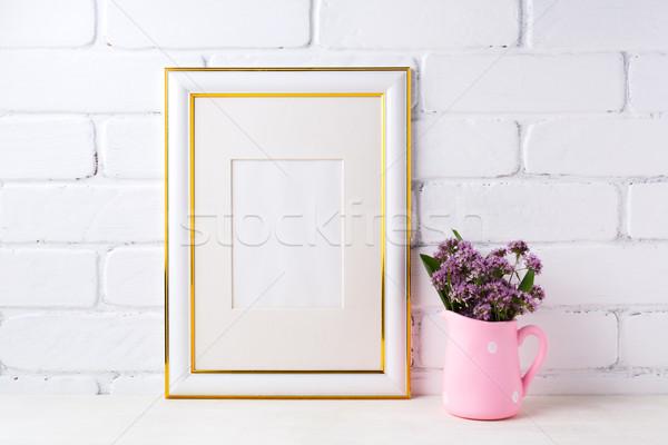золото украшенный кадр Purple цветы Сток-фото © TasiPas