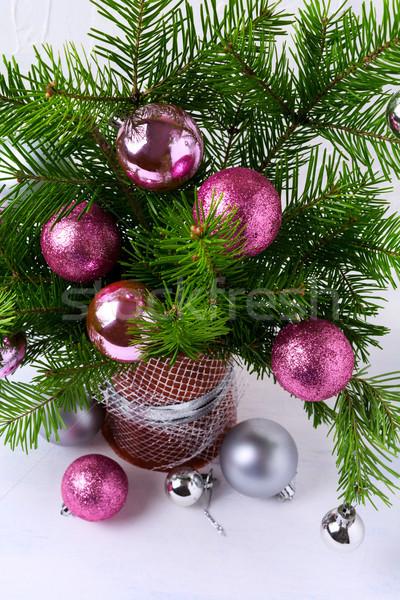 Natal rosa brilho prata Foto stock © TasiPas