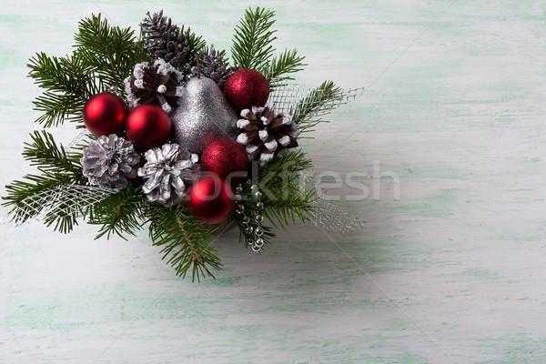 Сток-фото: Рождества · красный · серебро · блеск · украшения