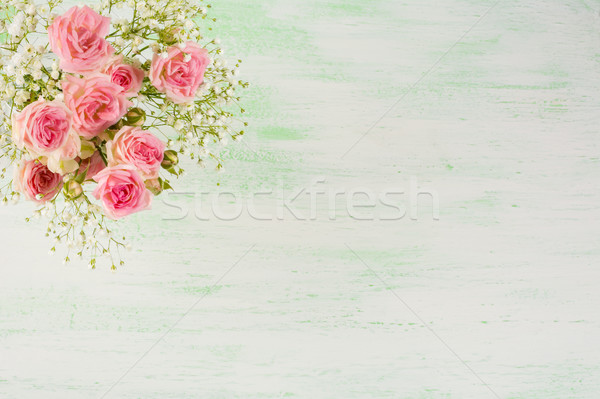 Pale pink roses and white flowers on light green background Stock photo © TasiPas