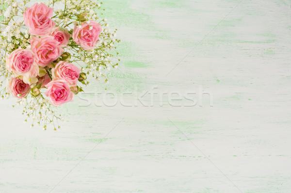 Pallido rosa rose fiori bianchi verde chiaro fiori Foto d'archivio © TasiPas