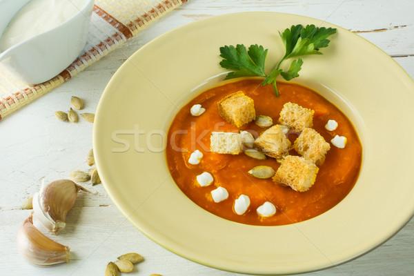 Pompoen soep knoflook squash groentesoep room Stockfoto © TasiPas