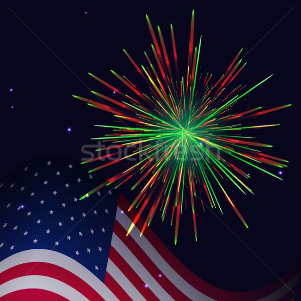 États-Unis pavillon rouge vert feux d'artifice célébration Photo stock © TasiPas