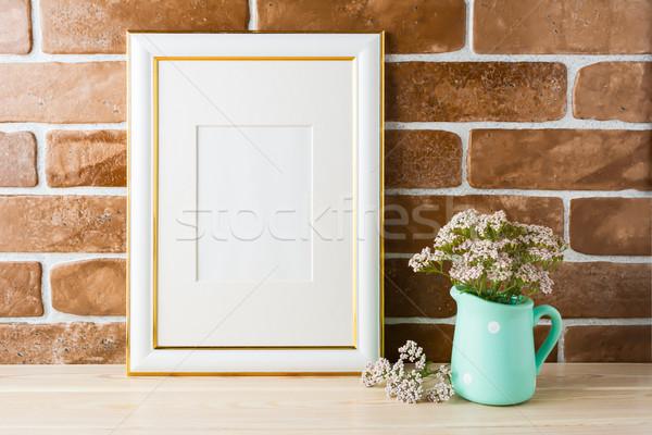 Arany díszített keret vázlat puha rózsaszín Stock fotó © TasiPas