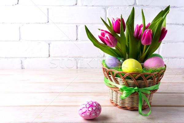 Пасху таблице розовый Tulip пастельный цвета Сток-фото © TasiPas