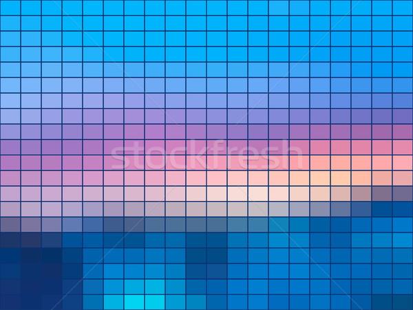 Blauw roze mozaiek vierkante tegels abstract Stockfoto © TasiPas