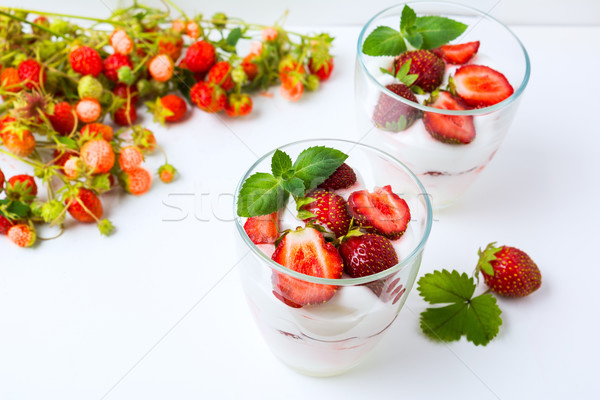 Ripe strawberry layered dessert  Stock photo © TasiPas