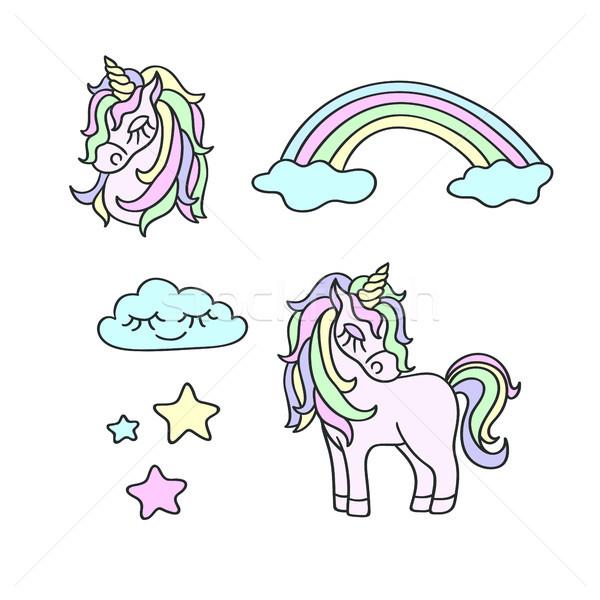 Regenboog wolken sterren magie vector ingesteld Stockfoto © TasiPas