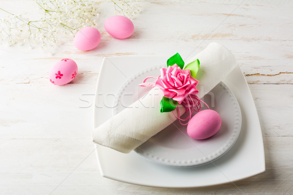 Stock photo: Pink Easter table place setting  top view