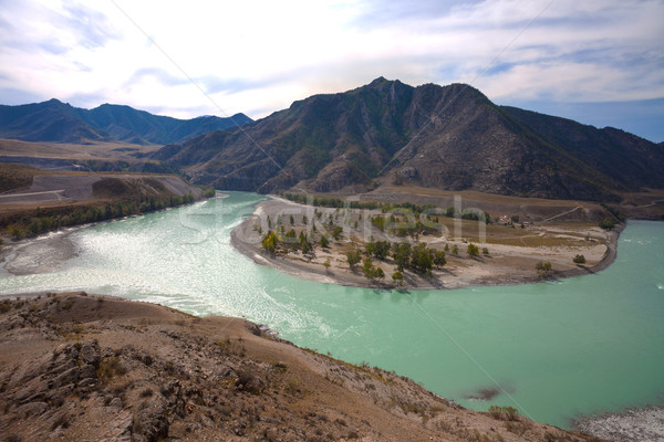 Confluence of the turquoise rivers Stock photo © TasiPas