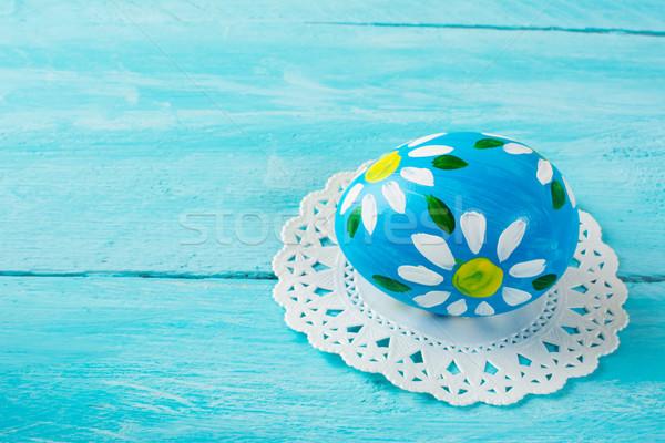 Azul ovo de páscoa floral projeto madeira Foto stock © TasiPas