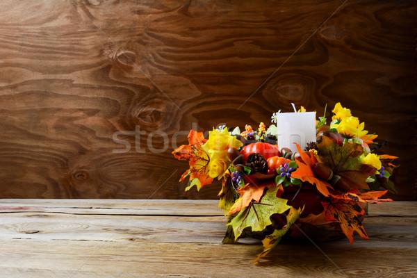 благодарение украшение шелковые осень листьев деревенский Сток-фото © TasiPas