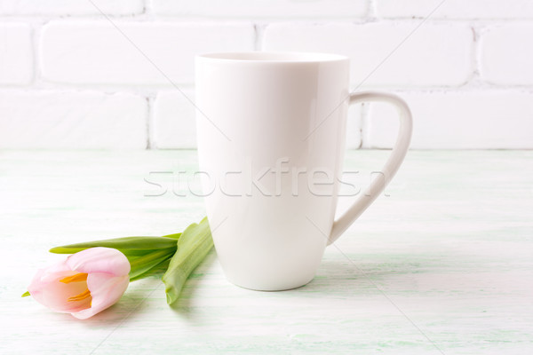 White coffee cappuccino mug mockup with  pink tulip  Stock photo © TasiPas