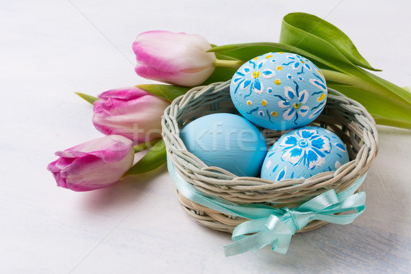 Easter blue painted eggs in thebasket and pink tulips Stock photo © TasiPas