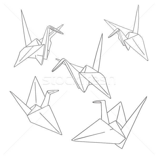 набор бумаги оригами птиц изолированный Сток-фото © TasiPas