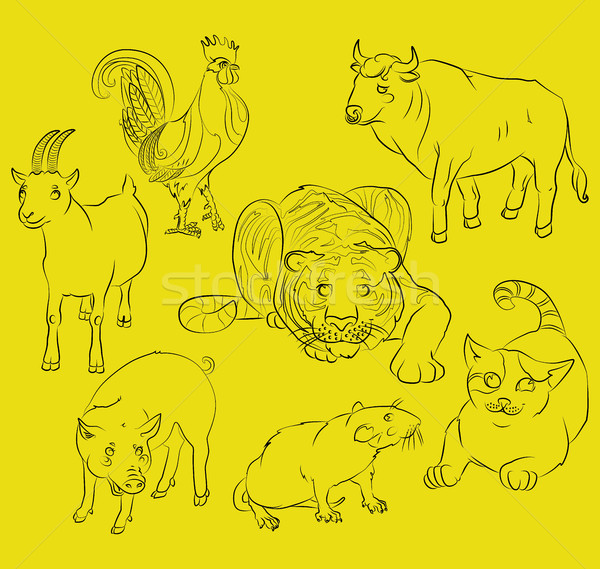Stock photo: rooster, cat, pig, rat, goat, tiger and ox