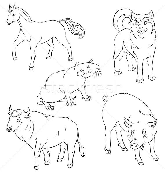Ingesteld dieren stier hond paard rat Stockfoto © tatiana3337
