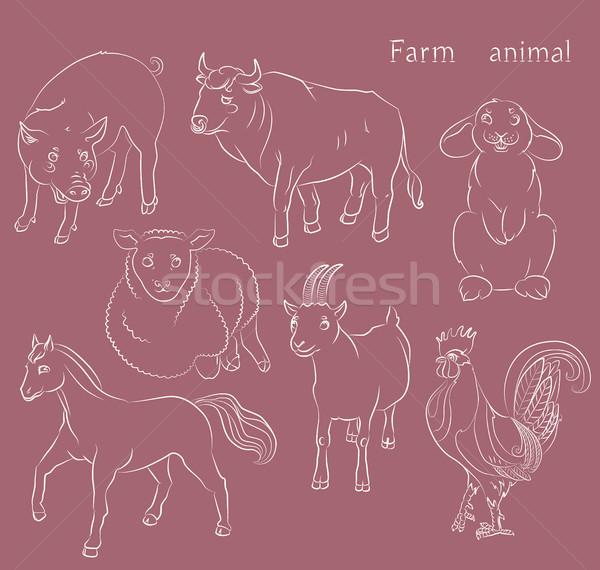 bull-cock-goat-horse-pig-rabbit-sheep Stock photo © tatiana3337