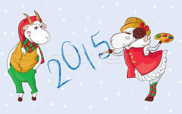 Kecske birka 2015 szimbólumok mosoly gyerekek Stock fotó © tatiana3337