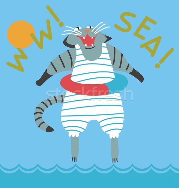 Cat goes swimming in the sea Stock photo © tatiana3337