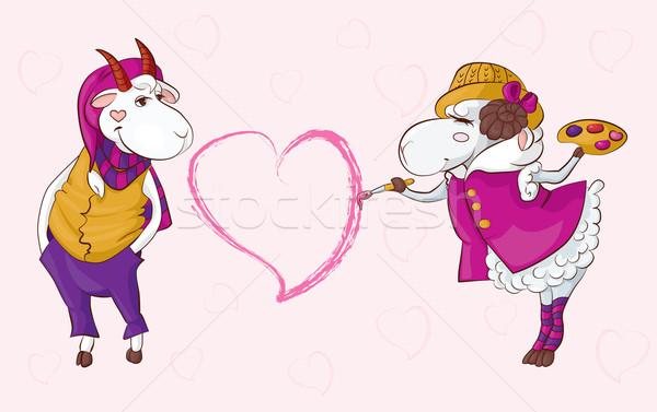Goat sheep valentine Stock photo © tatiana3337