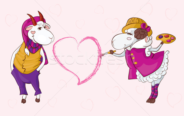 Geit schapen Valentijn briefkaart valentijnsdag kan Stockfoto © tatiana3337
