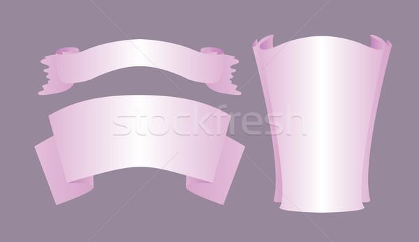 Három lila szalag szett terv elemek Stock fotó © tatiana3337