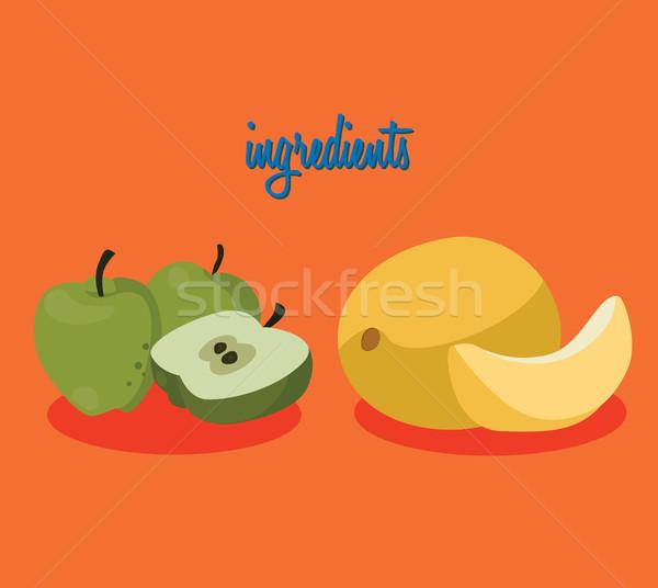 Stock fotó: étel · hozzávalók · almák · dinnye · kényelmesség · jelentős