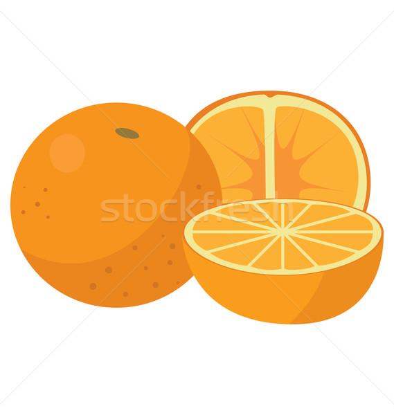 Three oranges: the whole fruit, cut lengthwise and sliced crosswise Stock photo © tatiana3337