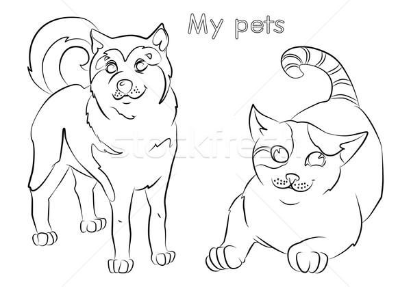 Feketefehér kép macska kutya nem kényelmesség Stock fotó © tatiana3337