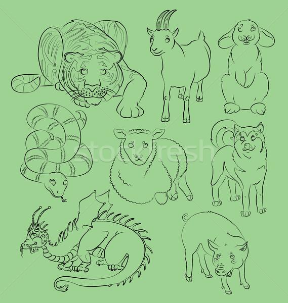 Сток-фото: изображение · дракон · собака · коза · свинья · кролик
