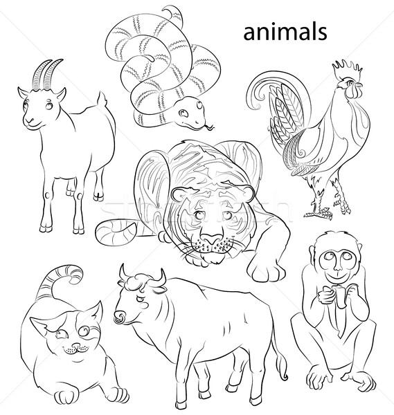 rooster, cat, snake, monkey, goat, tiger and ox Stock photo © tatiana3337